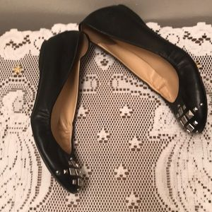J. CREW Black And Silver Leather Flats Sz 6